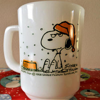 1950's Snoopy I Hate When It Snows On My French Toast Coffee Mug, Anchor Hocking Fire King Snoopy Christmas Cup, Snoopy Hot Cocoa Mug