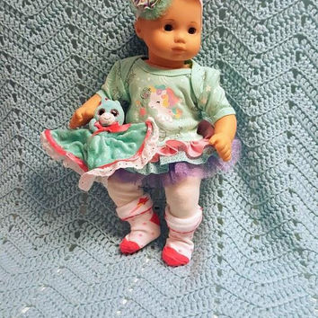 """15 inch Baby doll outfit """"Magical Unicorn""""  Will fit Bitty Baby® Bitty Twins®  dress leggings socks headband stars S10"""