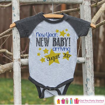 New Year New Baby Arriving Onepiece - Custom New Years Outfit - Pregnancy Announcement - Baby Reveal - Grey Baseball Tee - Kids Grey Raglan