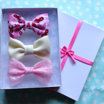 Breast Cancer, Cream, Pink Lace Bow Set