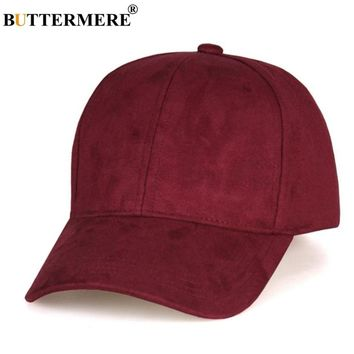 Trendy Winter Jacket BUTTERMERE Burgundy Baseball Cap Women Suede Casual Snapback Hats Men Solid Adjustable Duckbill Caps Uv Autumn Sun Baseball Hat AT_92_12