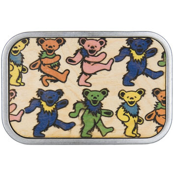 Grateful Dead - Dancing Bears All-Over Wood Belt Buckle