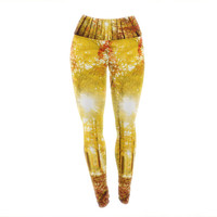 "Iris Lehnhardt ""Sun Flooded"" Yellow Orange Yoga Leggings"