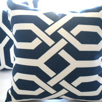 Pillow cover trellis Navy and white 20 x 20