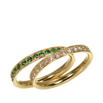 Full eternity Band - A Pair Of Rings - Diamonds & Tsavorite - 0.62 Carat Round Diamonds and 0.82 Carat Round Tsavorite- 14k Solid Gold.