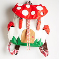 Kawaii, Mushrooms, Travel, Quirky, Scholastic Fungi House Backpack by ModCloth