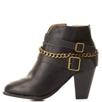 Dollhouse Chain-Belted Chunky Heel Booties by Charlotte Russe - Black