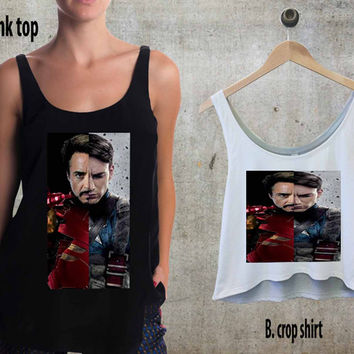 iron man and captain america For Woman Tank Top , Man Tank Top / Crop Shirt, Sexy Shirt,Cropped Shirt,Crop Tshirt Women,Crop Shirt Women S, M, L, XL, 2XL**