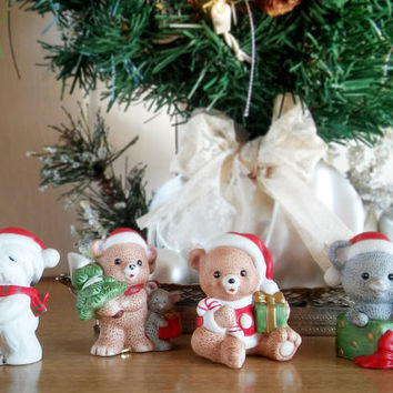 Vintage Homco Christmas Animal Figurine Set of 4, Homco Christmas Figurine Set