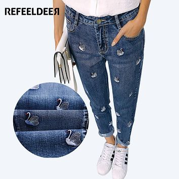 Refeeldeer Jeans Women 2017 Spring High Waist Embroidery Mom Jeans Female American Apparel Boyfriend Pants Regular Jeans Femme