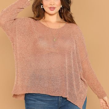 Plus Size Rust Semi Sheer Side Slit Knit Pullover Sweater
