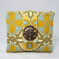 Wallet,  Zipper Pouches, Cotton,Teal, Olive Green, Gold, Cream