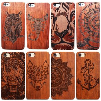 Dragon Eagle Horse Vintage Wood Phone Case For Iphone 6 6s 8 Plus 7 7Plus X 5 5S SE Back Cover Hard Protective New Wooden Cases