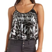 Geo-Tribal Sequin Swing Tank Top by Charlotte Russe - Black Combo