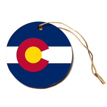 "Bruce Stanfield ""Flag of Colorado"" Blue Red Circle Holiday Ornament"