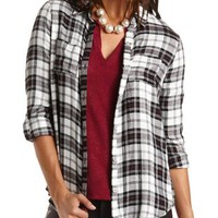 Flyaway Plaid Flannel Button-Up Top by Charlotte Russe