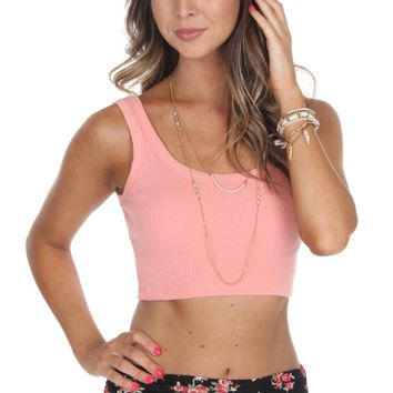 Ribbed Crop Tank Peach