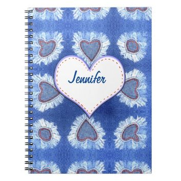 Jeans heart pattern with text notebooks