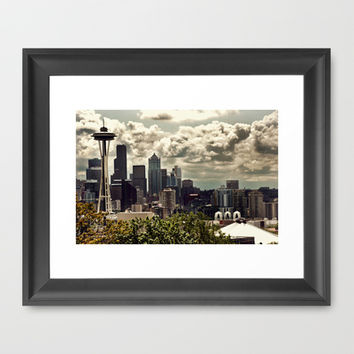 Seattle Skyline from Kerry Park , Seattle Art, Space Needle, Retro Wall Art, Fine Art Photography Framed Art Print by Monakhalil | Society6
