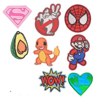 New Stickers Pokemon Superhero Ghostbuster Avocado Spiderman Kids Iron On Cartoon Patches For Clothes Badge Appliques Diy