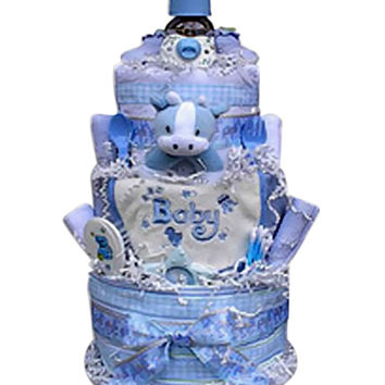Babygiftidea Decorative Centerpiece Newborn Baby Shower Gift 3 Tiered Diaper Cake- boy