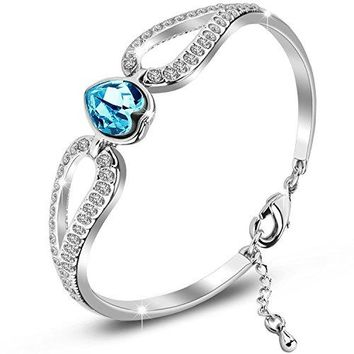 SILYHEART Jewelry Love Heart Crystal Bracelet for Women and Teens Love Bangle Luxury Gift Box Included