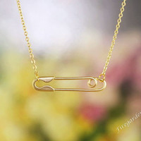 Matte gold pin necklace Safety pin necklace   Friend gift   Pin necklace