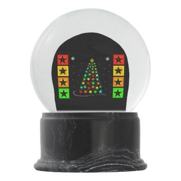 Christmas star and snowflakes snow globe