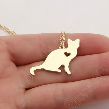 Cat Necklace Kitty Silver Lover Kitten Memorial Gift Christmas Gift Cute Gold Choker Women Charms Necklaces & Pendants Lead Free