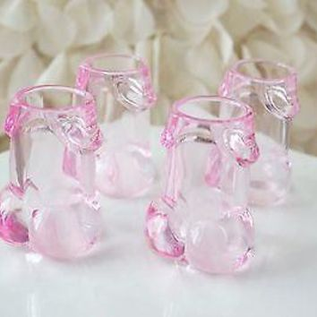 4 Clear Pink Pecker Shot Glasses Plastic Bachelorette Party Penis Shot Glass