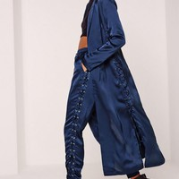 Missguided - Eyelet Duster Jacket Blue