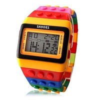 Unisex Colorful Block Brick Style Digital Wrist Watch = 1956616772
