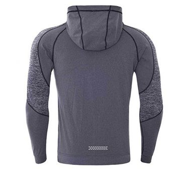Long Sleeve Men's Running Fitness T-shirt With Hat Zipper Quick Dry Sport Shirt Men Sport Top Compression Gym Clothing MY1781