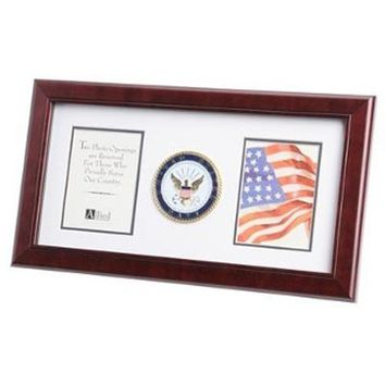 U.S. Navy Medallion Double Picture Frame Hand Made By Veterans