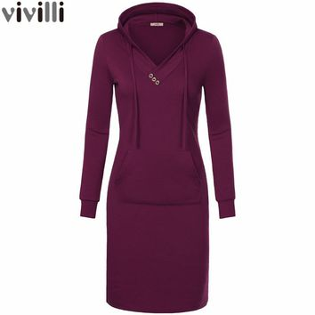 Spring Autumn Women Long Sleeve Sweatshirt Hooded Dress Keen Length Big Pocket Bodycon Casual Dress Red Thickening Women Dress