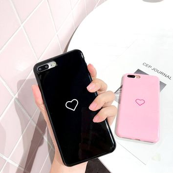 Hepu Fresh black pink little love for apple iphone 7plus mobile phone shell iphone6s / 6 silicone sleeve 6PLUS couple soft tide