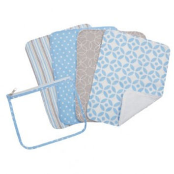 Trend Lab Logan Zipper Pouch and 4 Burp Cloth Gift Set