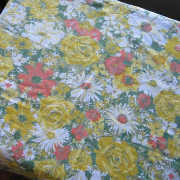 "1970s Vintage Mod Floral Tablecloth in Yellow, Green & Bitter Orange; 52 x 60"" Rectangular Cotton Table Cover; U.S. Shipping Included"