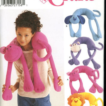 SIMPLICITY Pattern 5310 -  Longia Miller Designs - Sewing Pattern - New Uncut - Animal Neck Pillows - Cat, Dog, Monkey and Lion