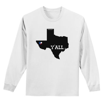Texas State Y'all Design with Flag Heart Adult Long Sleeve Shirt by TooLoud