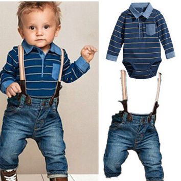 New born baby clothing set rompers+jeans for baby boys gentleman clothes