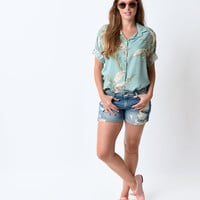 1980s Style Light Blue Distressed Denim Shorts
