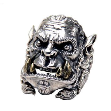 Real Solid 925 Sterling Silver Warcraft Soldier Men's Ring