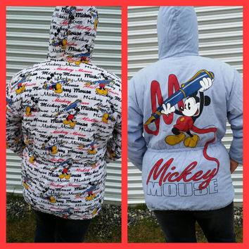 MICKEY MOUSE Duffle Coat Mickey Mouse DISNEY All over print Reversible 90's Minnie Mouse Walt Disney.