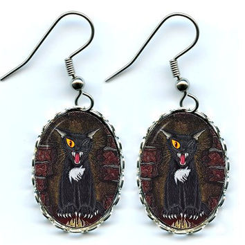 Black Cat Earrings E A Poe Gothic Horror Cat Art Cameo Earrings 25x18mm Gift for Cat Lovers Jewelry