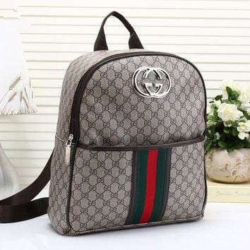 """Gucci"" Unisex Casual Fashion Multicolor Stripe Classic Print Backpack Couple Travel Double Shoulder Bag"