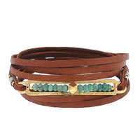 Chan Luu Green Opal Flat Leather Bracelet