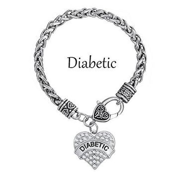 DIABETIC Awareness Charm Clear Crystal Heart Bracelet Medical Alert Jewelry for Women