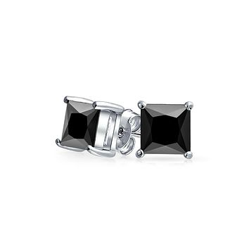 .75 CT Black Square Princess Cut CZ Stud Earrings Men Sterling Silver