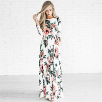 Summer Floral Print Boho Beach Wrap Maxi Dress